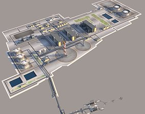 Seaport LNG plant and Oil terminal 3D model