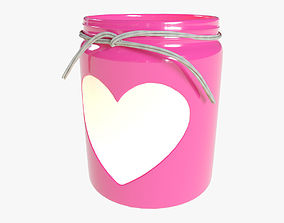 3D asset Valentines Day Heart Jar Candle