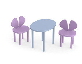 3D chair and table