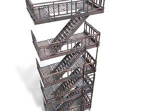 Fire escape - game ready - pbr 3D asset