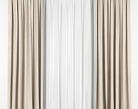 Beige curtains with tulle 3D model