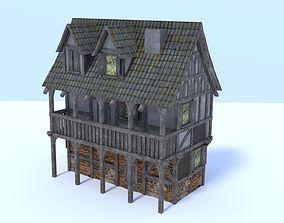Medieval city house 3D asset