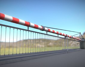 Low-Poly Railroad Barrier 8m Protective Grid 3D model