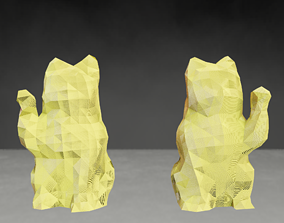 Photoscanned Maneki Neko Lucky Cats low 3D print model