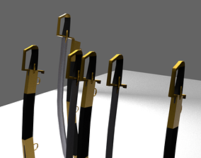 3D asset CURVED SWORD