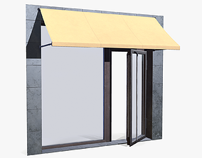 3D asset Shop Entrance with Marquis lowpoly