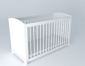 White cot with bars PASTEL 3D