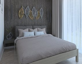 Bedroom with leaf decor 3D model