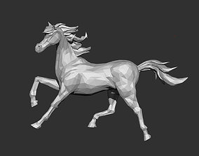 Horse Running Low-poly 3D print model