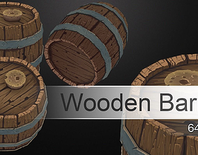3D model Hand-Painted Wooden Barrel