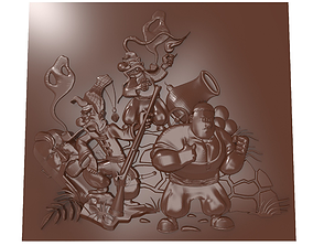 Characters from cartoon Cossacks bas relief 3D print model