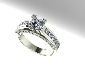 princess cut engagement ring 3D print model