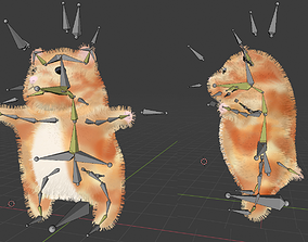 Hamster Bear Rigged Animal Character Game Ready 3D asset