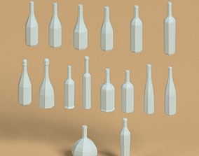 3D model Low poly wine bottle pack