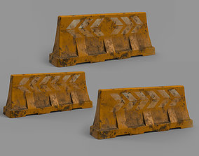 3D asset Set of three old road barriers