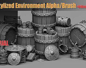 100 Stylized Environment Alpha Brush Video 3D model