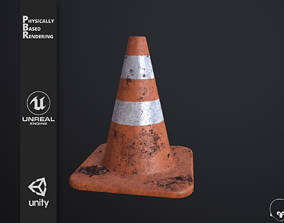 Traffic Cone high poly PBR 3D model