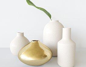 3D decorationset vase and leaf