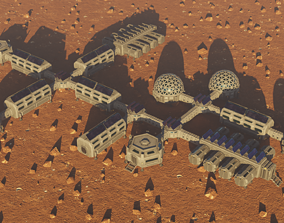 3D asset Modular low poly colony