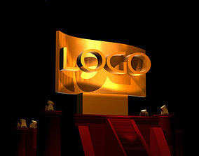 3D model Hollywood style logo scene