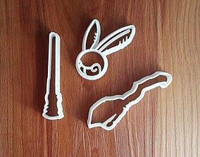 Harry Potter set cookie cutter 3D printable model
