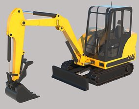Compact Excavator Vray PBR 3D asset