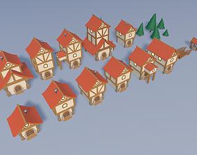 3D asset low-poly Cartoon village
