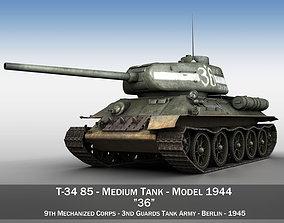 3D model T-34 85 - Soviet medium tank - 36