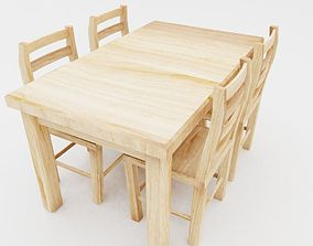 Table and chairs 3D model game-ready table