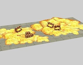 3D model Treasure chest gold game low mold