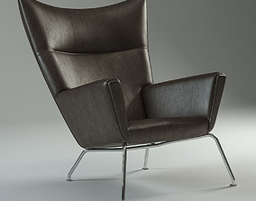 Carl Hansen 445 Black leather 3D