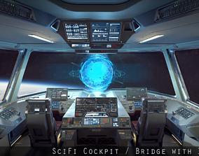 3D asset VR / AR ready Sci Fi Fighter Cockpit Bridge 6