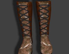 3D model PBR Rigged Fur Boots