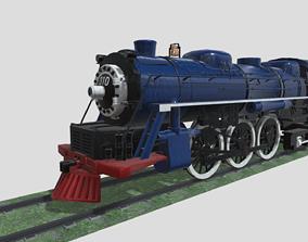 Steam Engine Train Wagon 3D asset game-ready PBR