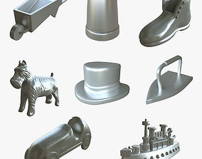 3D model piece Monopoly Game Pieces