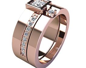 rings 3D printable model Couple Set Ring