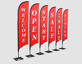 3D Advertising banner flag collection