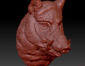 head boar 3D printable model wool