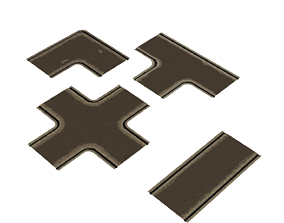 low poly textured roads pack 3D model