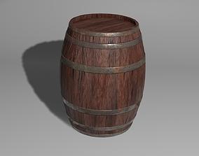 3D model Wooden barrel with barrel hoop with 4k textures 1