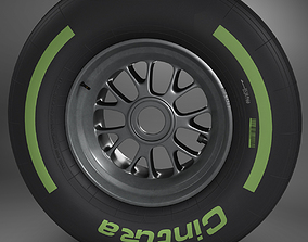 F1 tyre intermediate front 3D