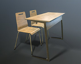 furniture-set Table and Chairs 3D model low-poly PBR