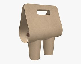 Recycled large paper coffee cup plastic lid and holder 3D
