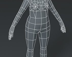 game-ready Female Body Fat Base Mesh 3D Model 1000