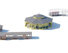 3D model Village buildings pavilion pergola summerhouse
