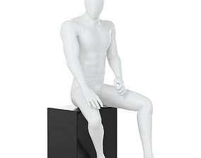 Male faceless mannequin sitting on a white box 71 3D