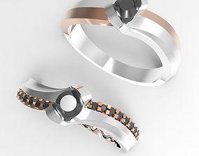3D print model curve engagement ring