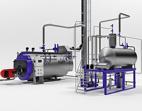 Steam boiler plant with equipment 3D