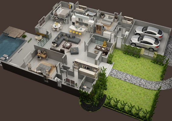3d floor plan of residential house
