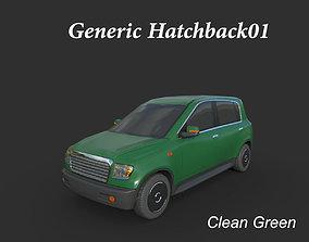 3D asset Generic Hatchback 01 Clean Green